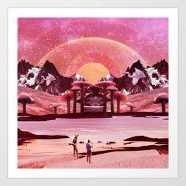 Pink mushroom valley Art Print