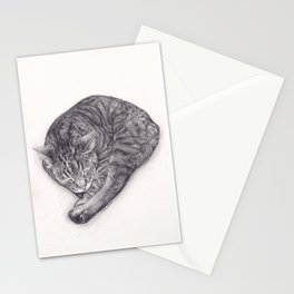 Bengal Cat Sleeping - Pencil Pet Drawing - Sketch by artist artwork Stationery Cards