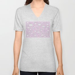 Pink sky with little clouds of caricatures Unisex V-Neck