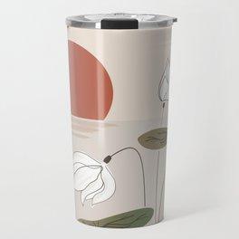 SEN Vietnam White Lotus Flower in the Tropical Sunset Hand Sketch Floral Design Travel Mug