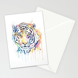 Tiger - Rainbow Tiger - Colorful Watercolor Painting Stationery Cards