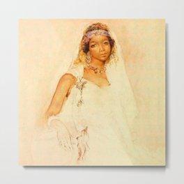 Portrait d'une jeune fille marocaine - MARIANO JOSÉ MARÍA BERNARDO FORTUNY Y CARBÓ  Metal Print