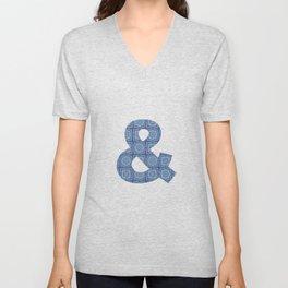 Blue Jeans Denim Quilt Patchwork Unisex V-Neck