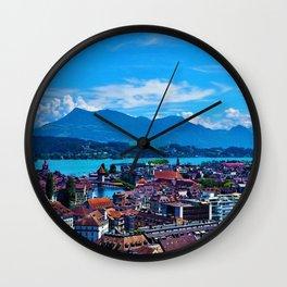 Lake Lucerne, Switzerland Chapel Covered Bridge Panaromic View Wall Clock