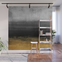 Black and Gold grunge stripes on modern grey concrete abstract background - Stripe -Striped Wall Mural