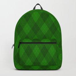 Argyle Fabric Pattern - Deep Royal Emerald Green Backpack