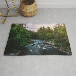 PNW River Run II - Pacific Northwest Nature Photography Rug