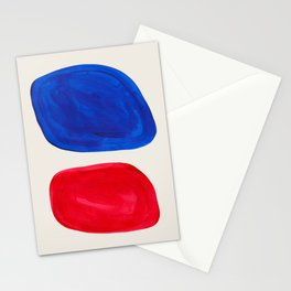 Mid Century Modern Retro Minimalist Colorful Shapes Phthalo Blue Red Rothko Pebbles Stationery Cards