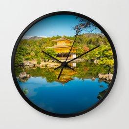 Golden Pavilion Panorama in Kyoto, Japan. Wall Clock
