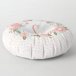 Monogram S - cute girls coral florals flower wreath, coral florals, baby girl, baby blanket Floor Pillow