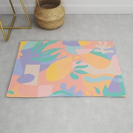 Lemons in Amalfi / Abstract shapes, Pink, Turquoise, Yellow, Lavender Rug