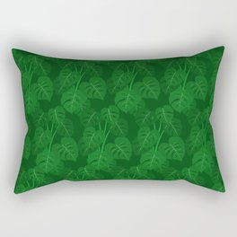 Hand Painted Monstera Deliciosa Tropical Houseplant Art Rectangular Pillow