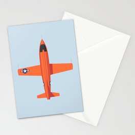 X-1 Mach Buster Rocket Aircraft - Orange Grey Stationery Cards