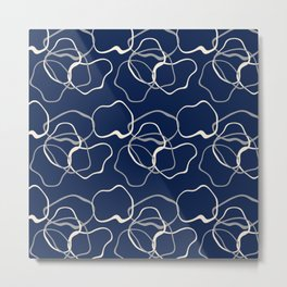 lignes bleues courbes Metal Print
