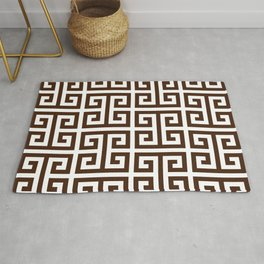 Dark Brown and White Greek Key Pattern Rug