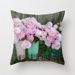 Garden Pink Peonies Aqua Pink Buckets Prints and Home Decor Throw Pillow