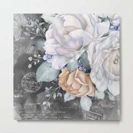 Vintage Winter Rose Metal Print
