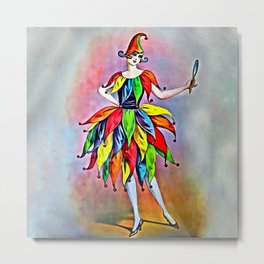 ART DECO LADY IN HARLEQUIN Metal Print