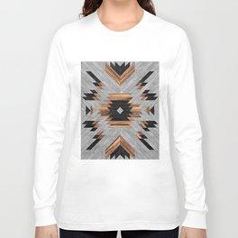 Urban Tribal Pattern No.6 - Aztec - Concrete and Wood Langarmshirt