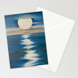 Full Moon Reflecting on the Sea Stationery Cards