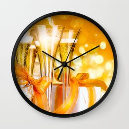 Happy New Year Christmas decoration champagne New Year Party ribbons glare Christmas Wall Clock