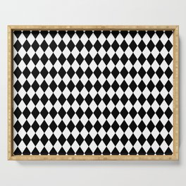 Classic Black and White Harlequin Diamond Check Serving Tray