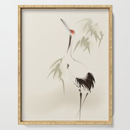 Oriental Red-Crowned Crane 001 Serving Tray