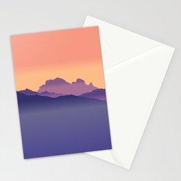 Misty Mountains Orange Sunset  Stationery Cards