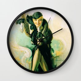 """""""Flapper with Black Fur"""" Pinup by Rolf Armstrong Wall Clock"""