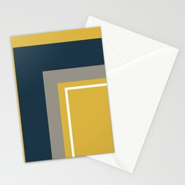 Half Frame Minimalist Pattern 3 in Deep Mustard Yellow, Navy Blue, Grey, and White. Stationery Cards