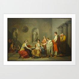 Joseph-Benoît Suvée - Cornélie, mère des Gracques Art Print