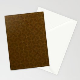 Chocolate Brown Moroccan Geometric Pattern Stationery Cards