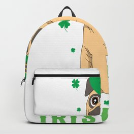irish pug st patrick day with shamrock green hat Backpack
