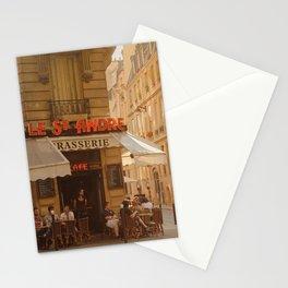 Timeless sunny Paris corner | Paris cafe brasserie in golden light Stationery Cards