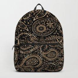 Beautiful Pattern of Paisley Art, Flowers, Doodles - Gradient Gold Pattern Backpack