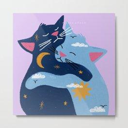 Day & Night Cats Hugging: Nikita Abuya Metal Print