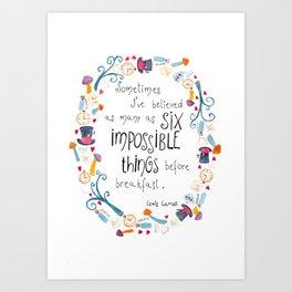 Alice in Wonderland - quote in wreath Art Print