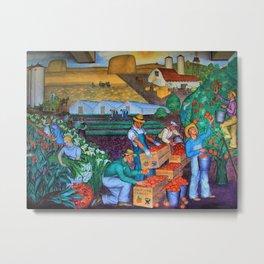 Orange Grove harvest portrait painting WPA mural Metal Print