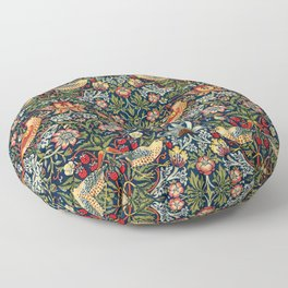 Strawberry Thief by William Morris 1883 Antique Vintage Pattern CC0 Spring Summer Floor Pillow