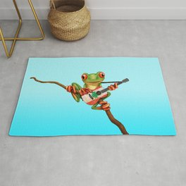 Tree Frog Playing Acoustic Guitar with Flag of Lebanon Rug
