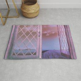 Lavender Fields in Window Shabby Chic original art Rug