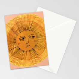 Sun Drawing Gold and Pink Stationery Cards