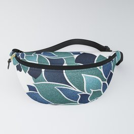 Festive, Floral Prints, Navy Blue and Teal on White Fanny Pack