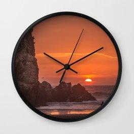 Walk at Sunset Wall Clock