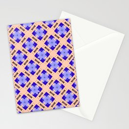 Cobalt and Coral Trellis Pattern Stationery Cards