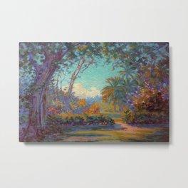 Honolulu Flower Garden, Pink Hibiscus, Oahu, Hawaii landscape painting by Anna Woodward Metal Print