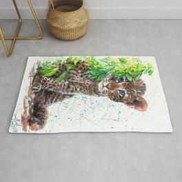 Little Leopard watercolor Rug