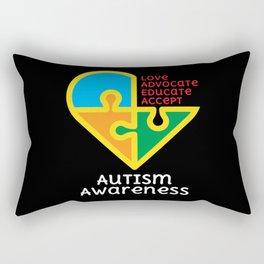 Teacher Autism Support Gift Autistic Student Love Puzzle Rectangular Pillow