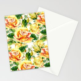 Orange yellow watercolor hand painted roses floral pattern Stationery Cards