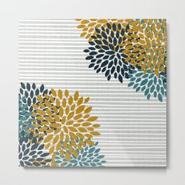 Floral Blooms and Stripes, Navy Blue, Teal, Yellow, Gray Metal Print
